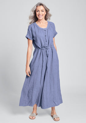 tee top jumper linen jumpsuit blue