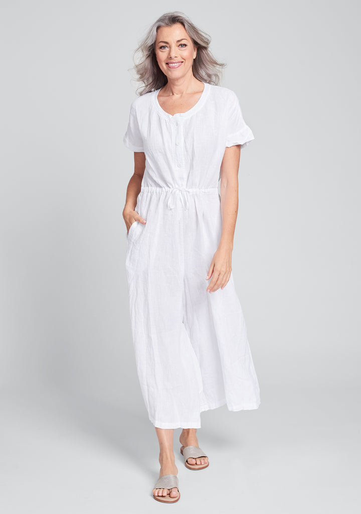 tee top jumper linen jumpsuit white
