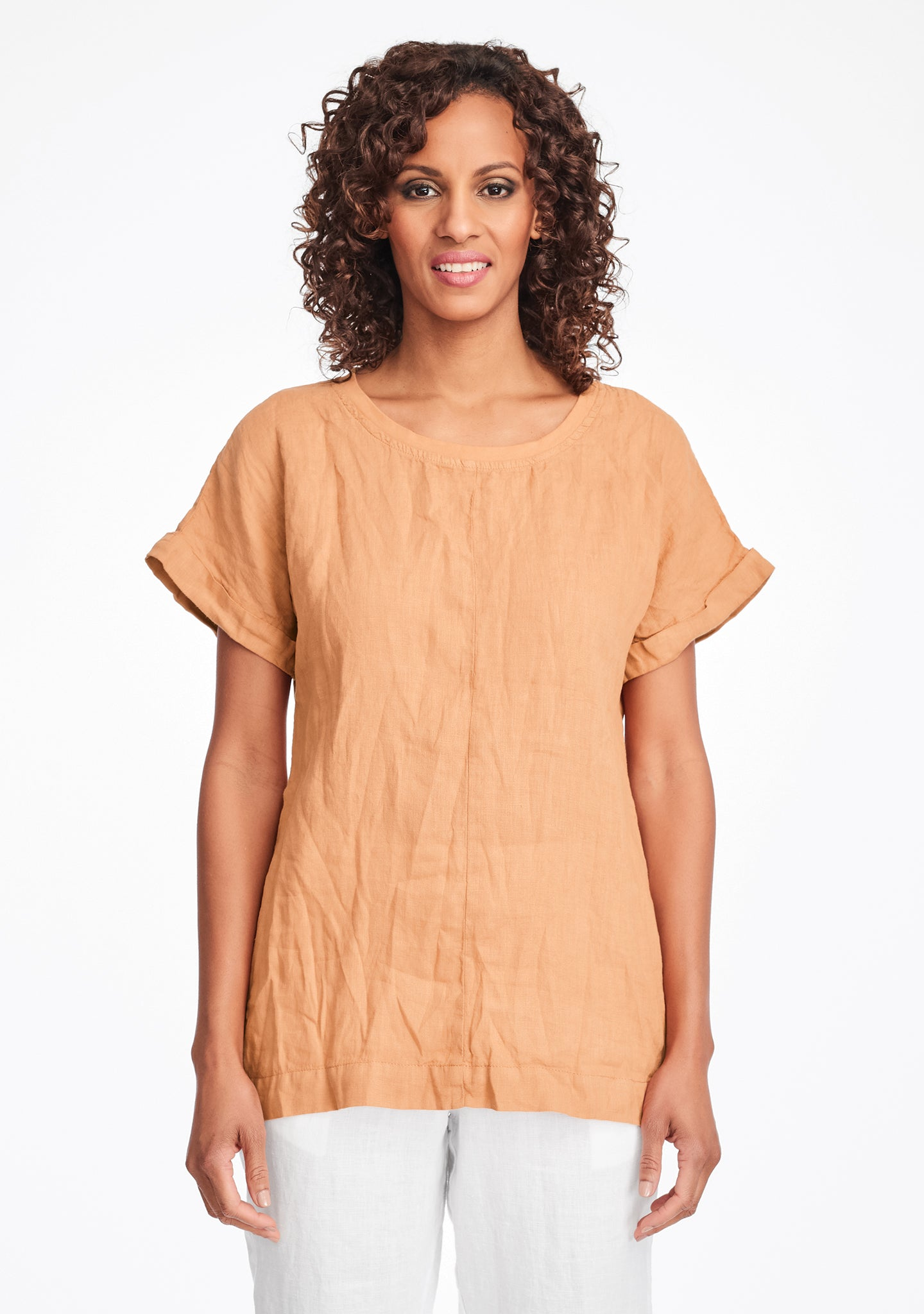 tee top linen t shirt orange