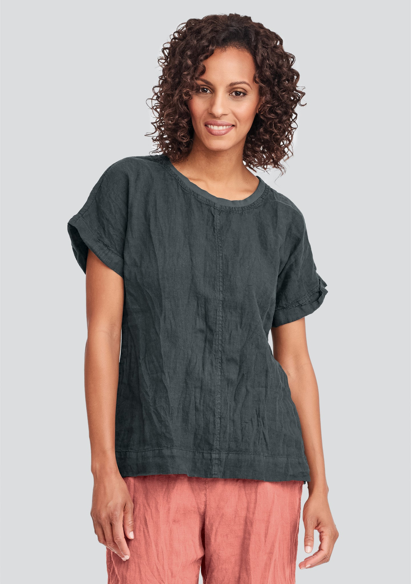 tee top linen t shirt black