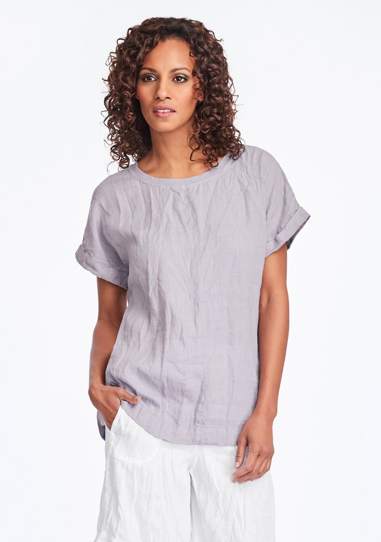 tee top linen t shirt purple