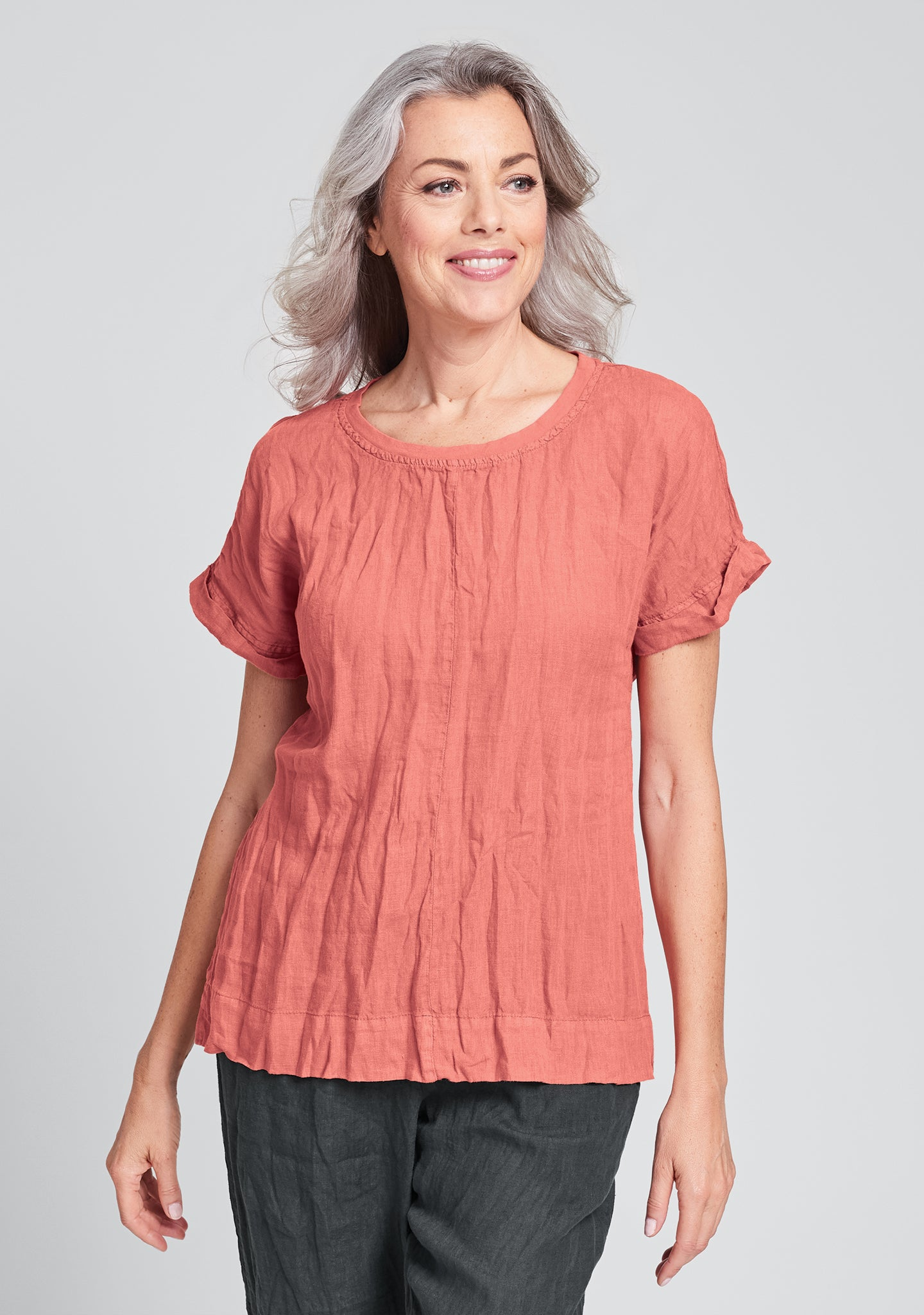 tee top linen t shirt red