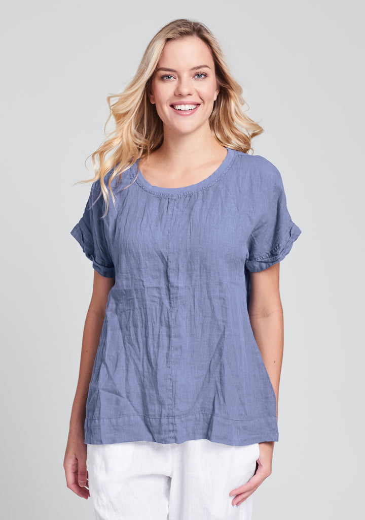 tee top linen t shirt blue