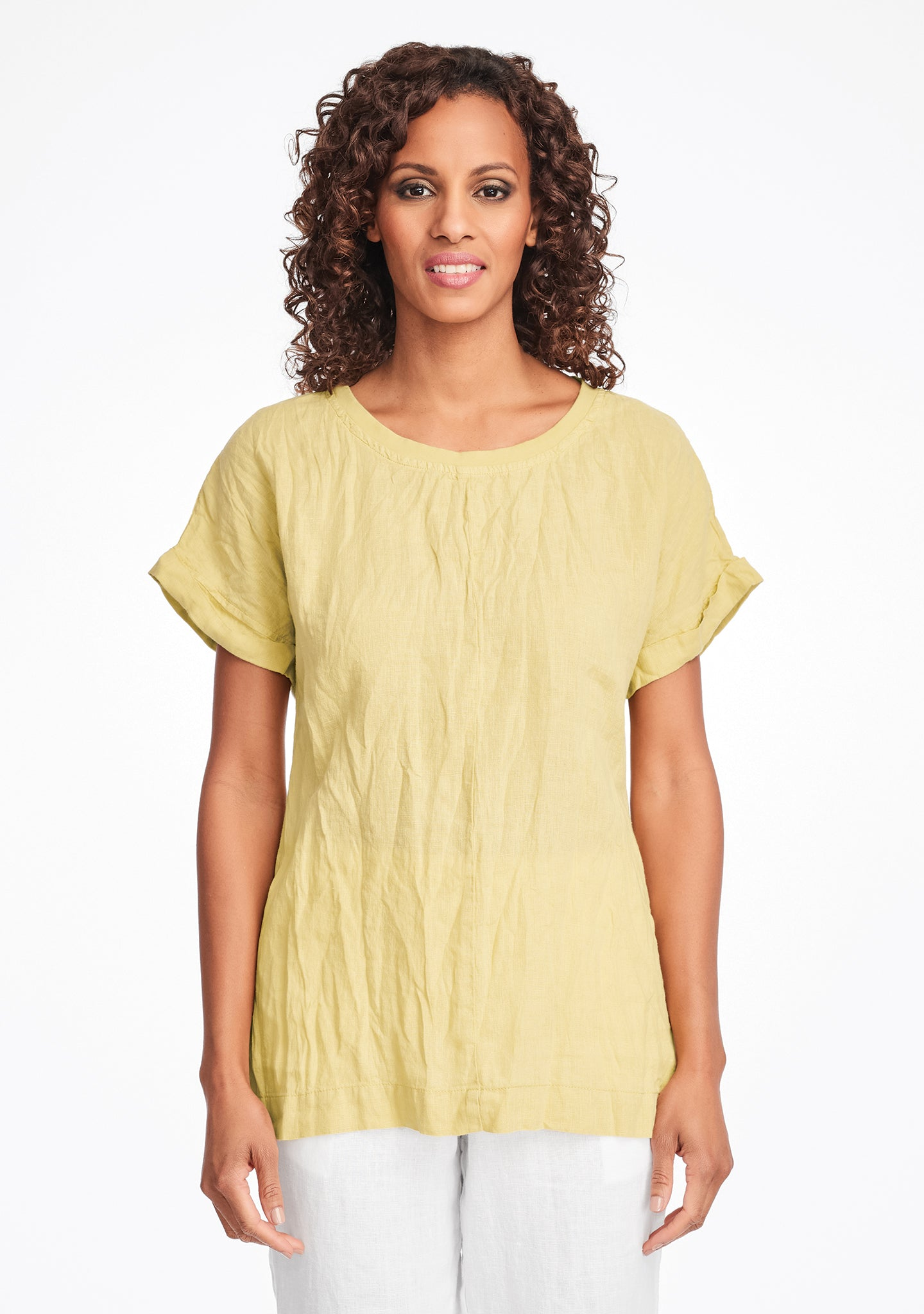 tee top linen t shirt yellow