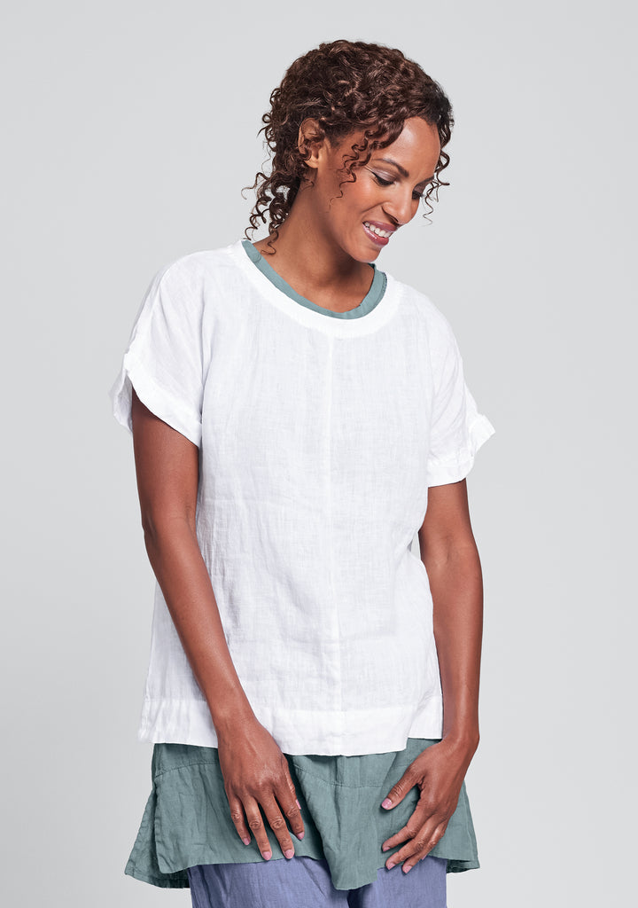 tee top linen t shirt white