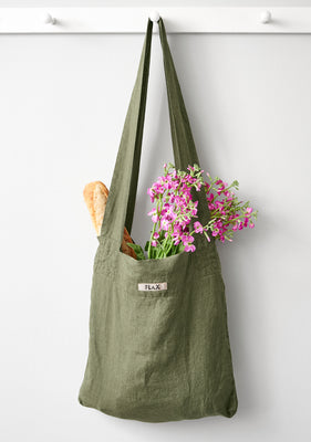 the bag linen shopping bag green