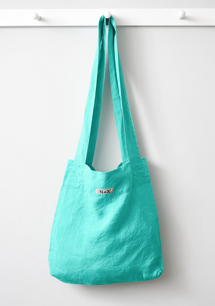 the bag linen shopping bag blue