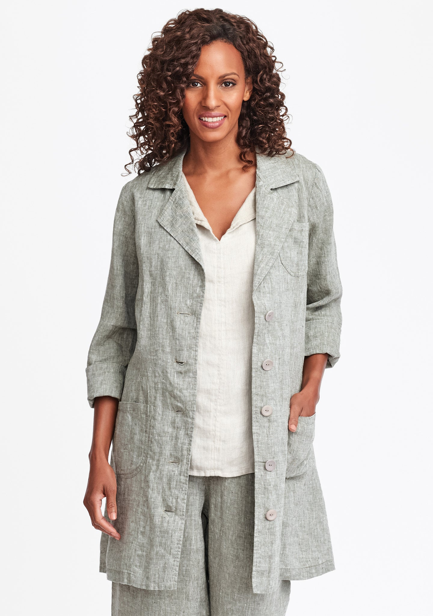 the traveler linen jacket green