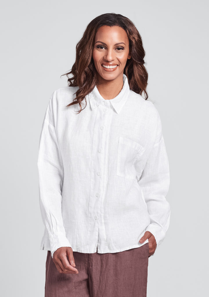 theo shirt linen button down shirt white