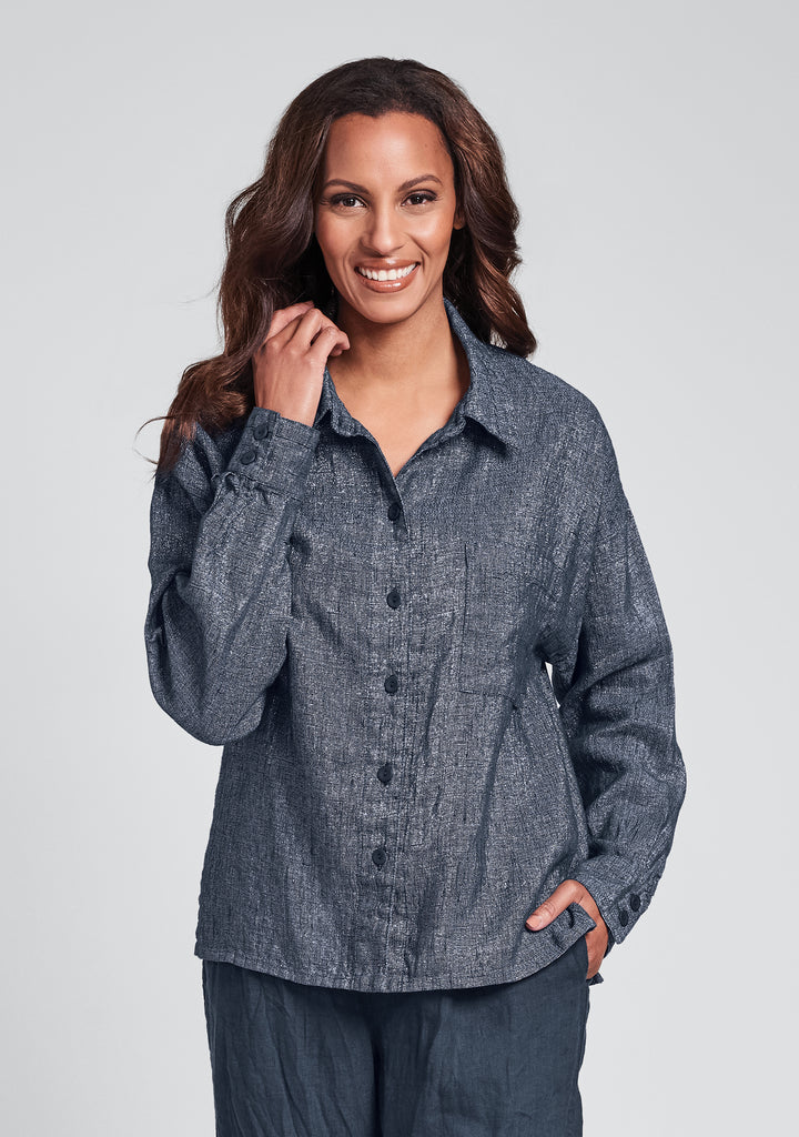 theo shirt linen button down shirt blue