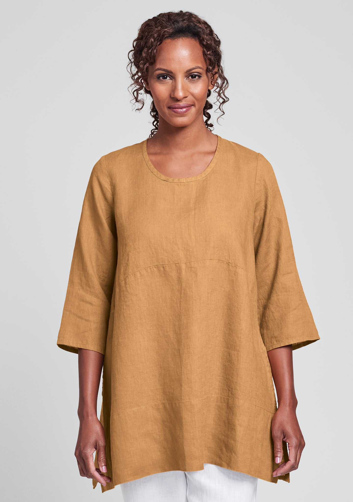 tranquil pullover linen shirt orange