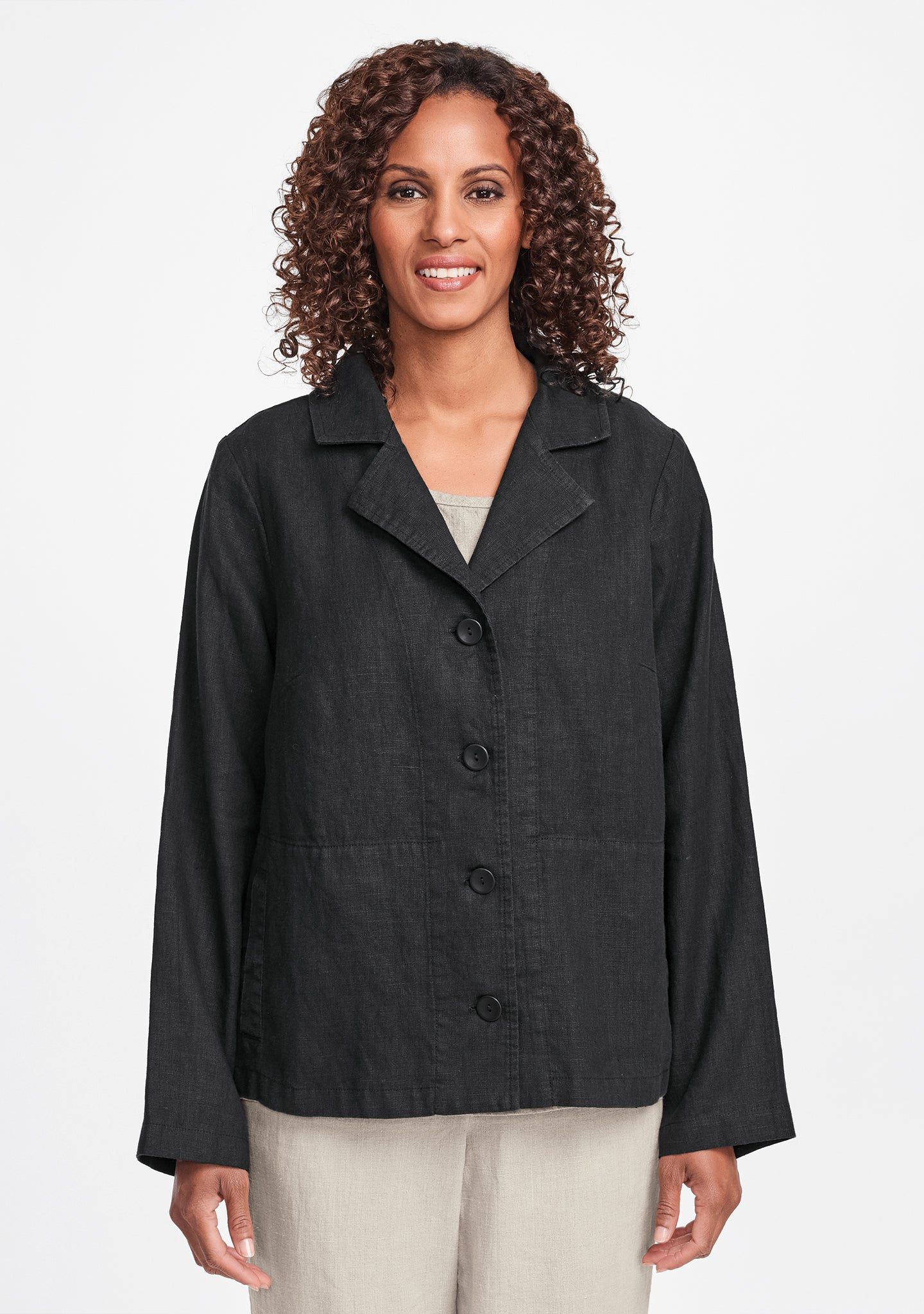 travel caper linen jacket black