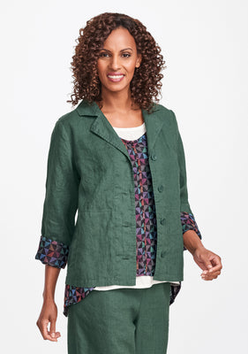 travel caper linen jacket green