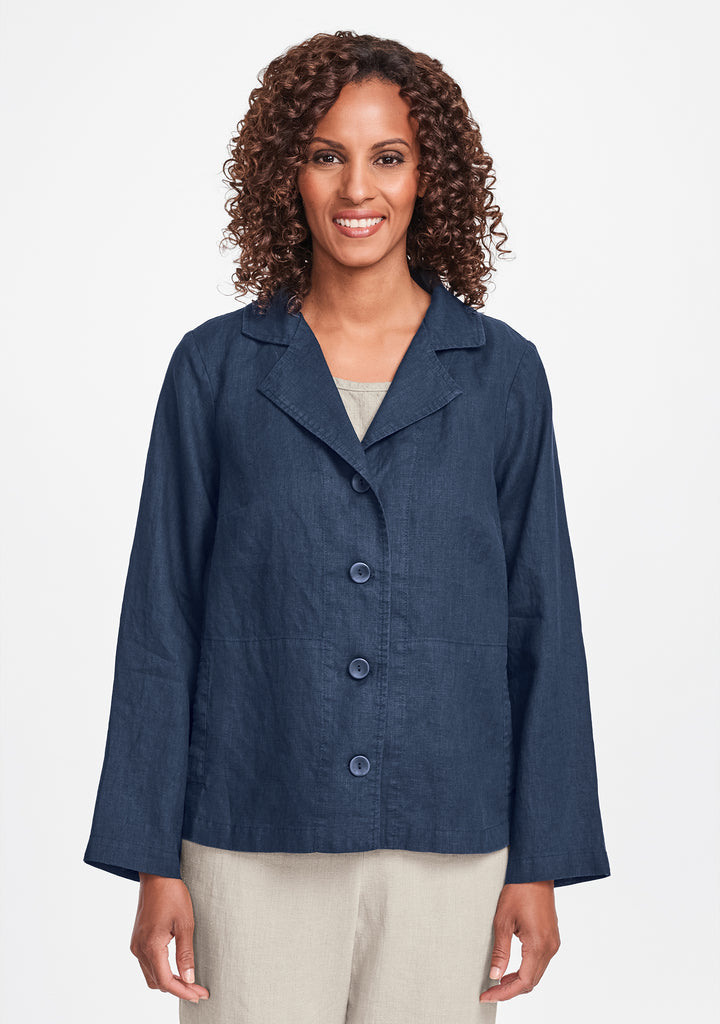 travel caper linen jacket blue