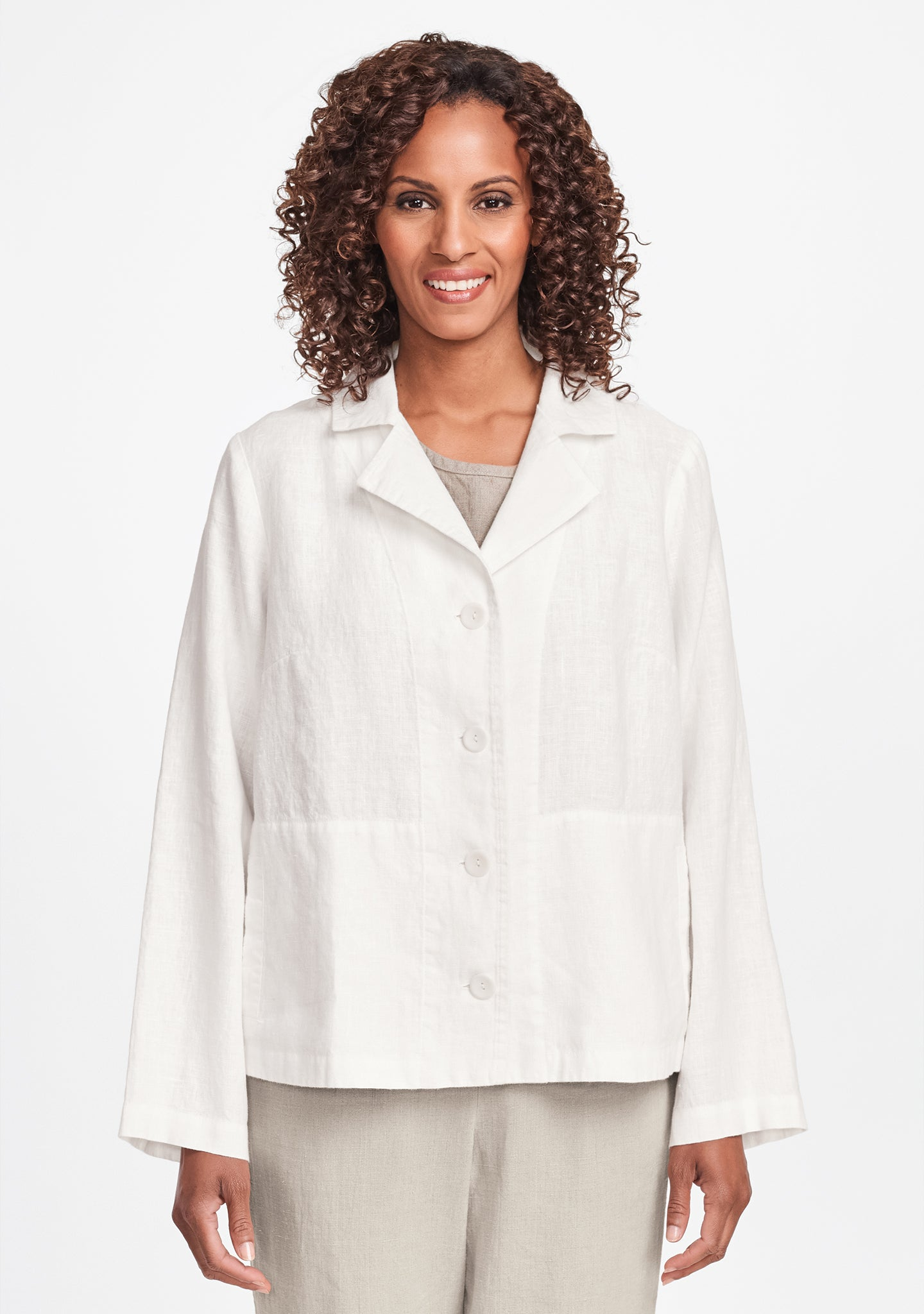 travel caper linen jacket white