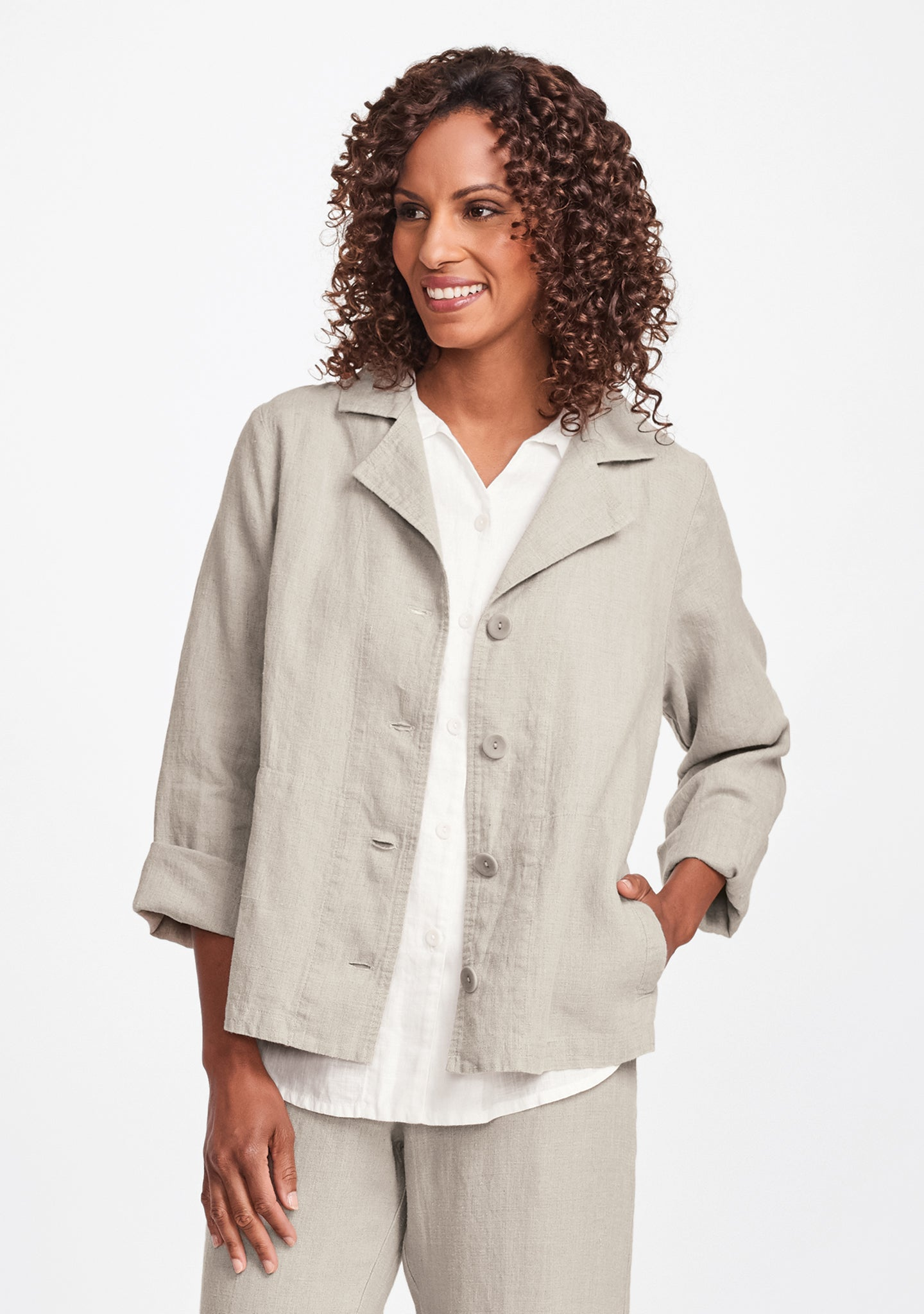 travel caper linen jacket natural