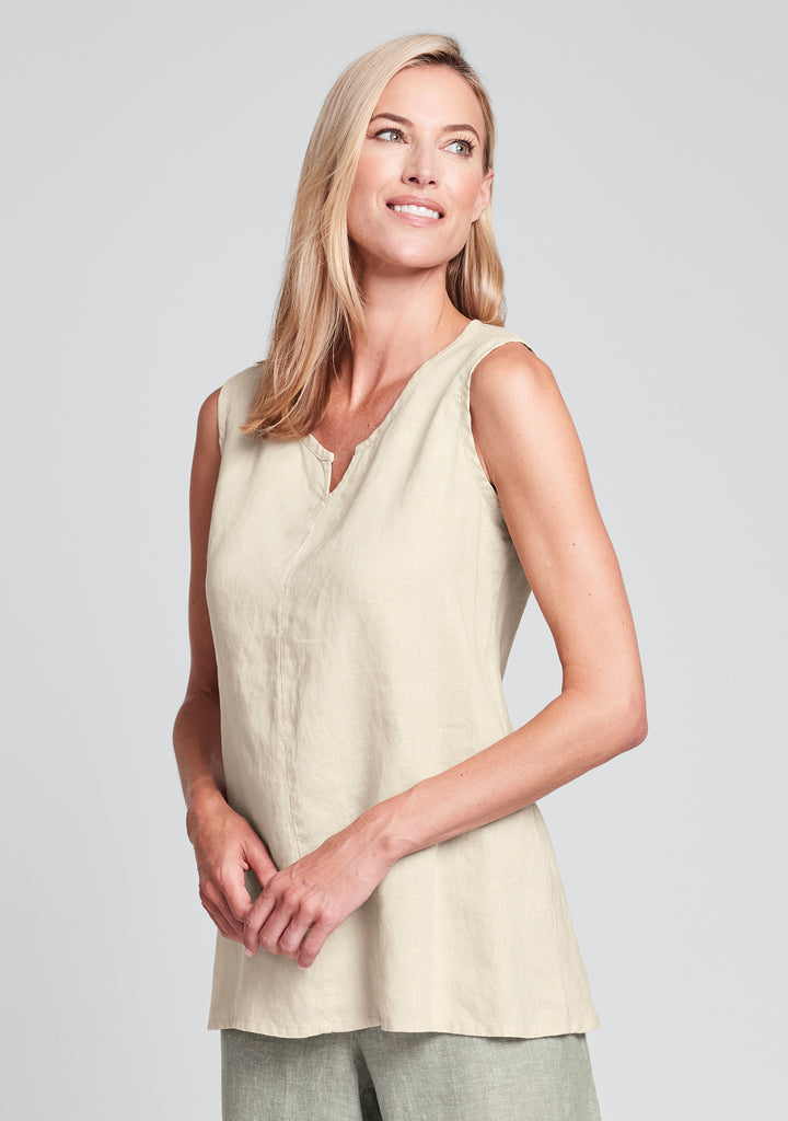 true tunic linen tank top yellow