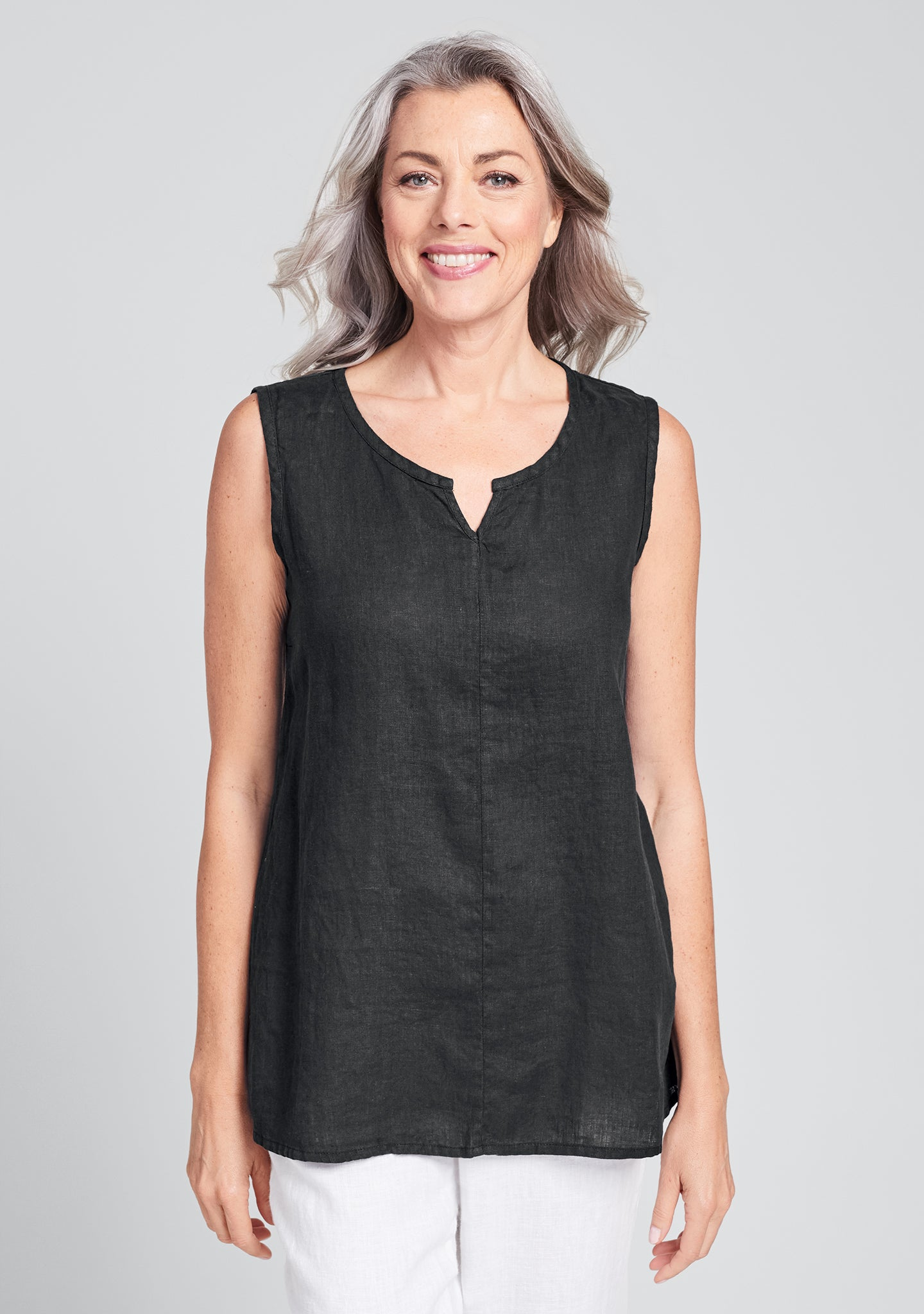 true tunic linen tank top black