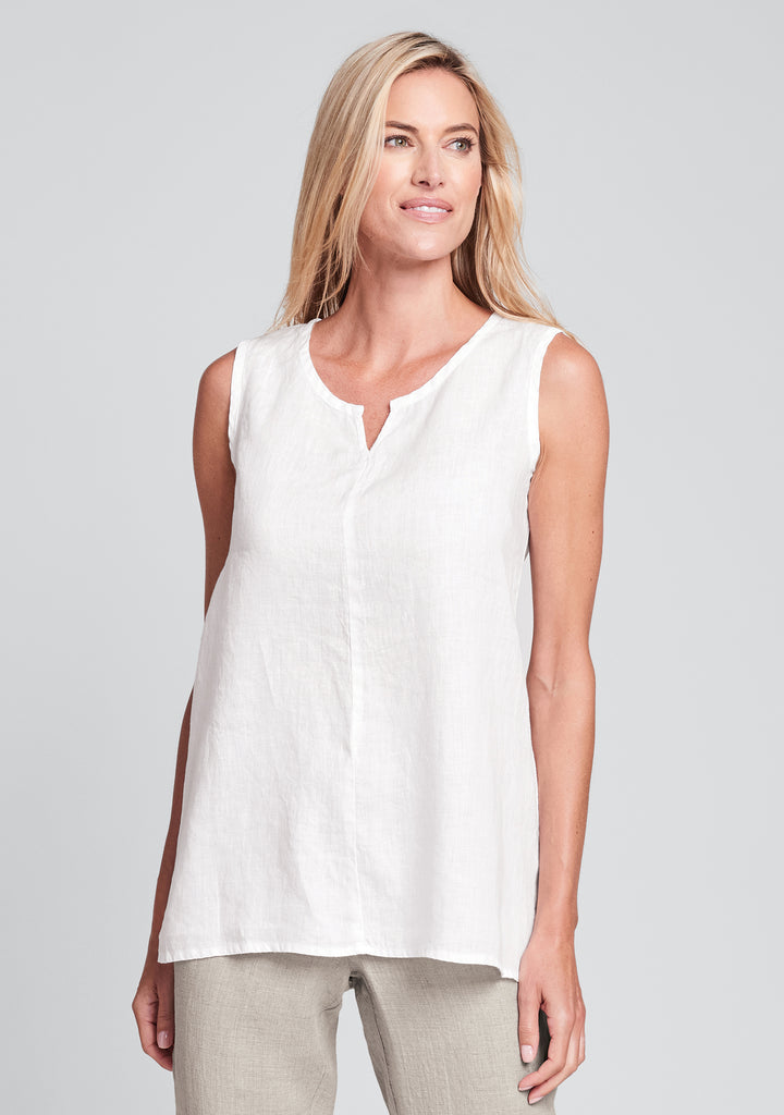 true tunic linen tank top white