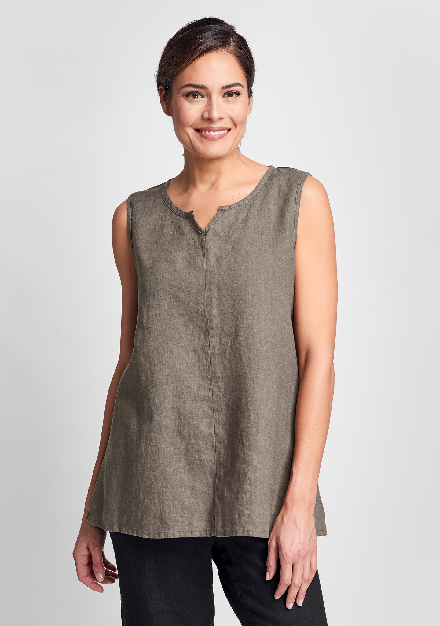 true tunic linen tank top brown