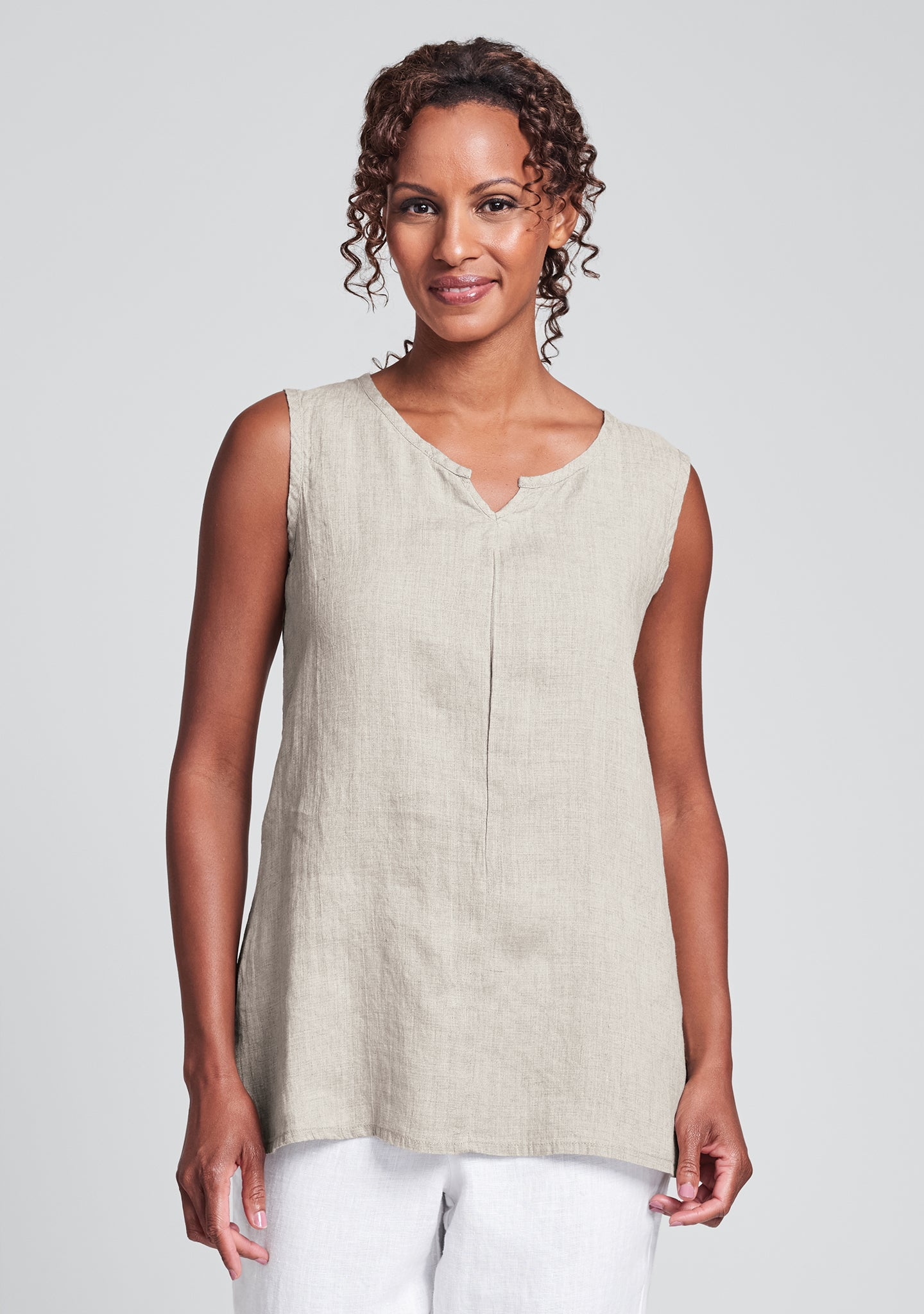 true tunic linen tank top natural