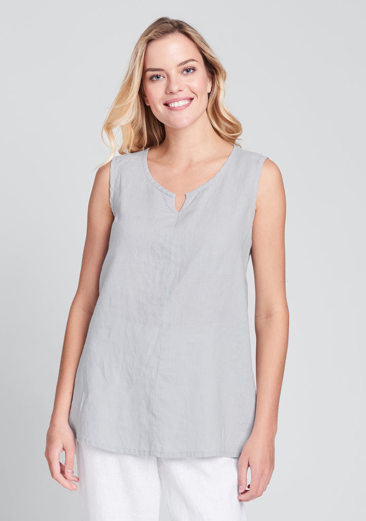 true tunic linen tank top grey