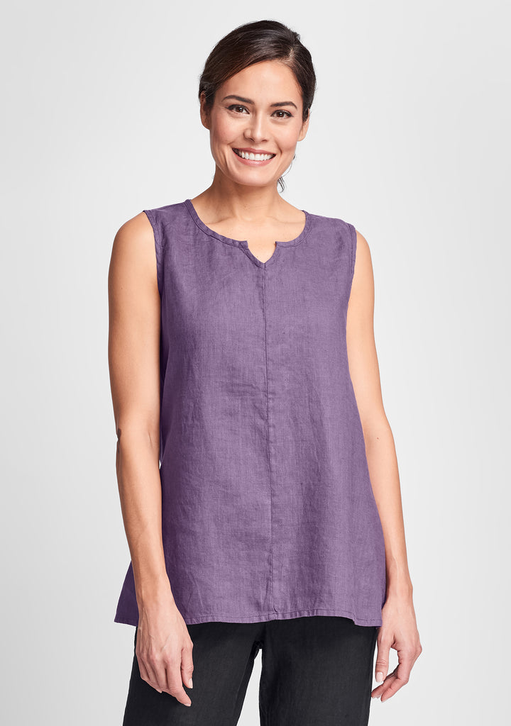 true tunic linen tank top purple