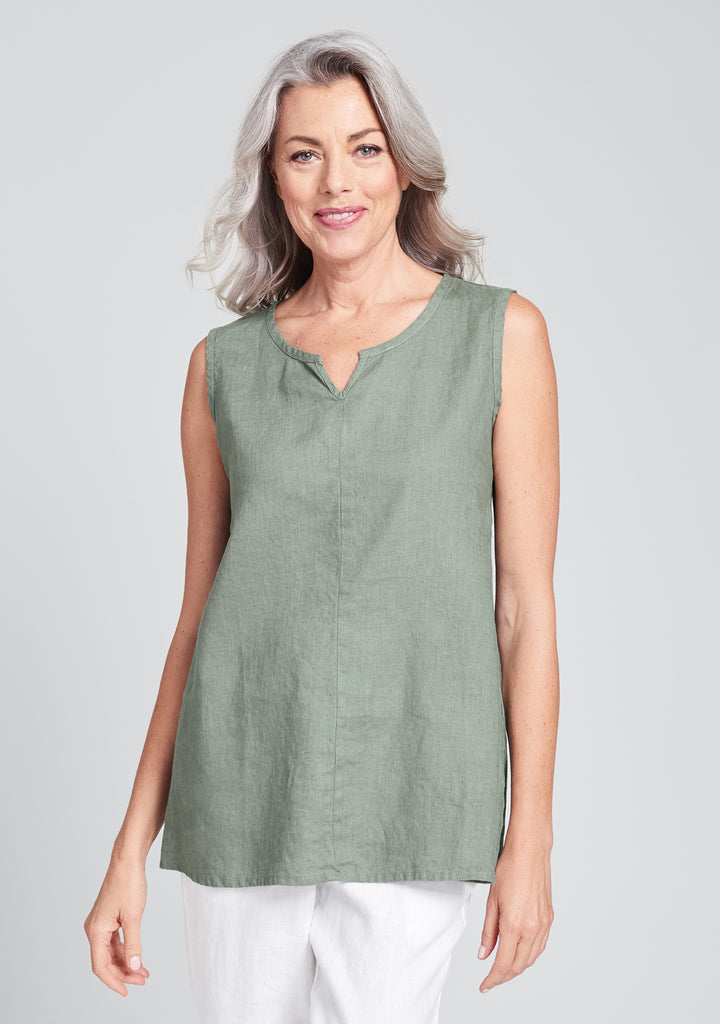true tunic linen tank top green
