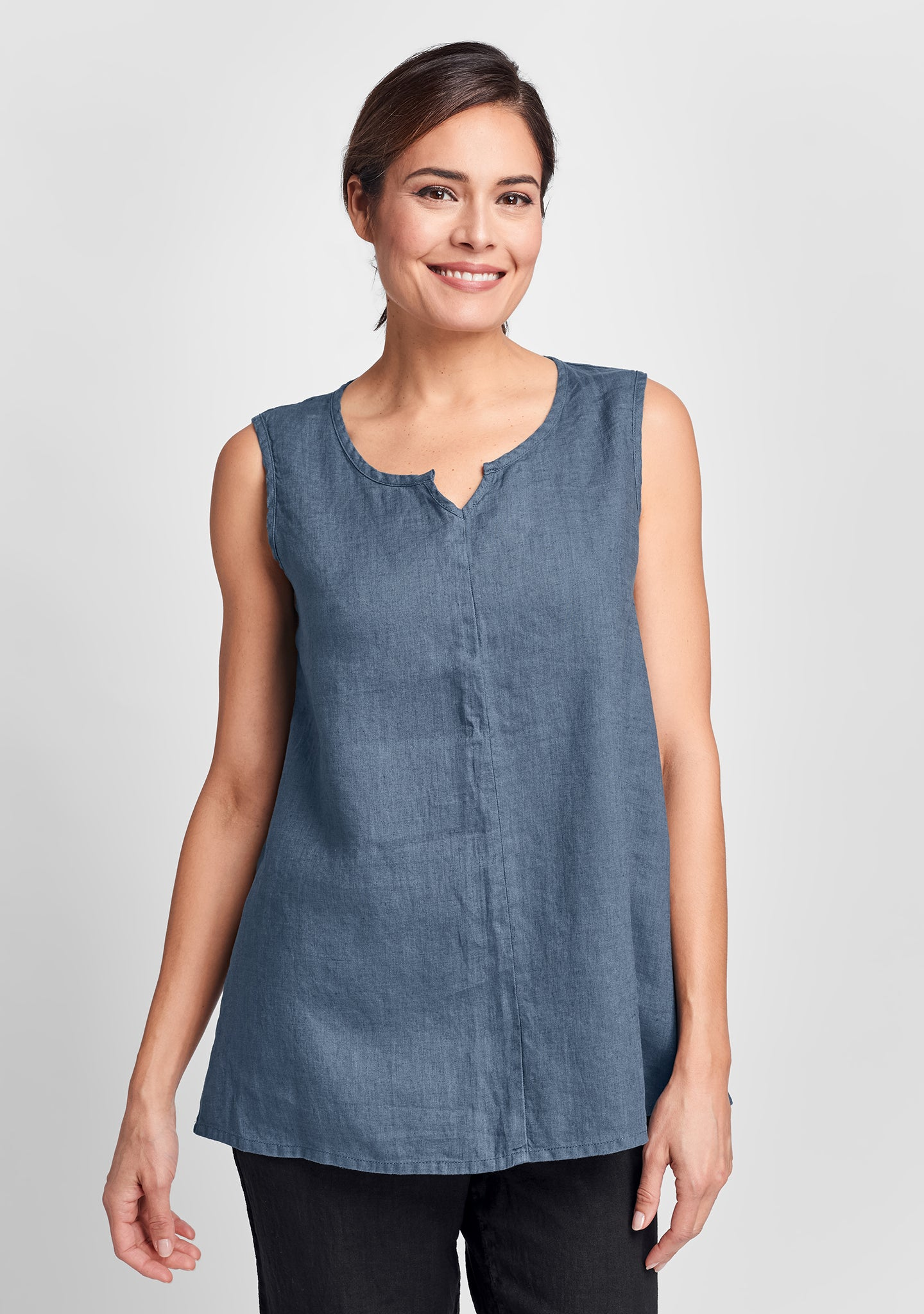 true tunic linen tank top blue