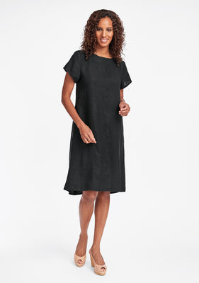 truly dreamy dress linen shift dress black