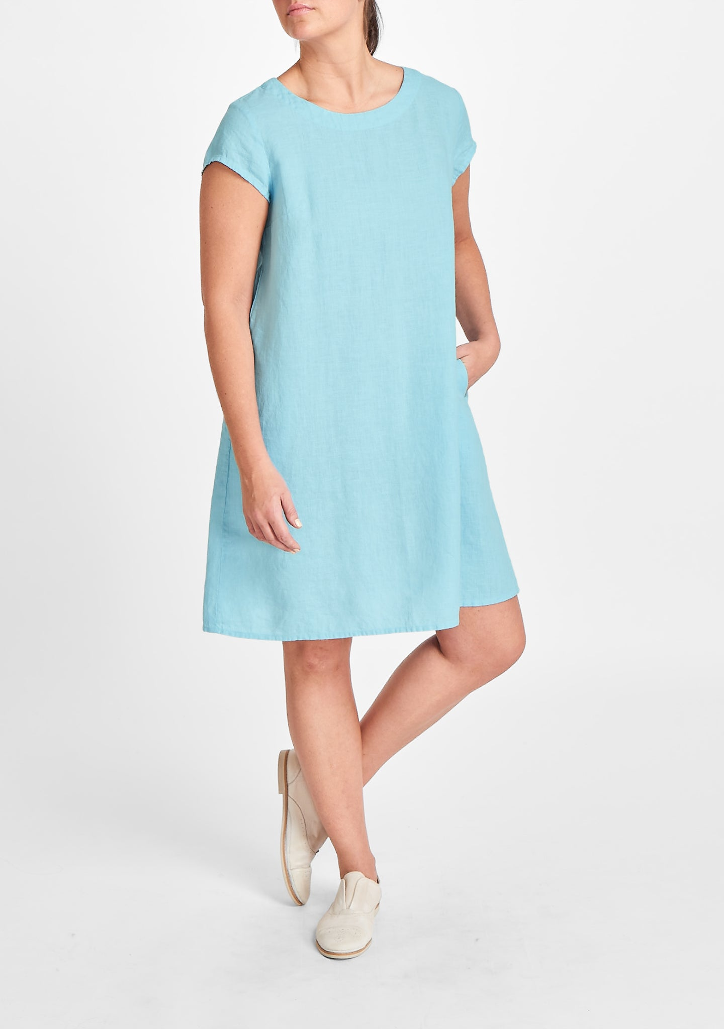 tuck back dress blue
