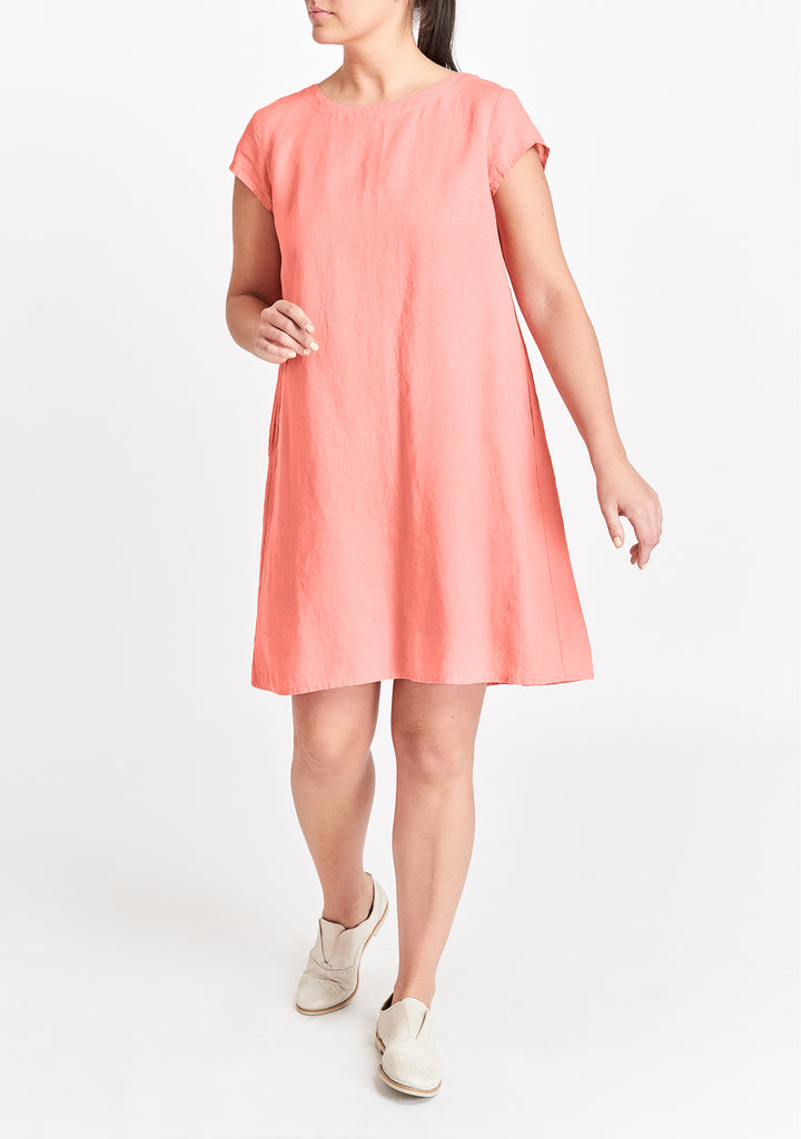 tuck back dress pink