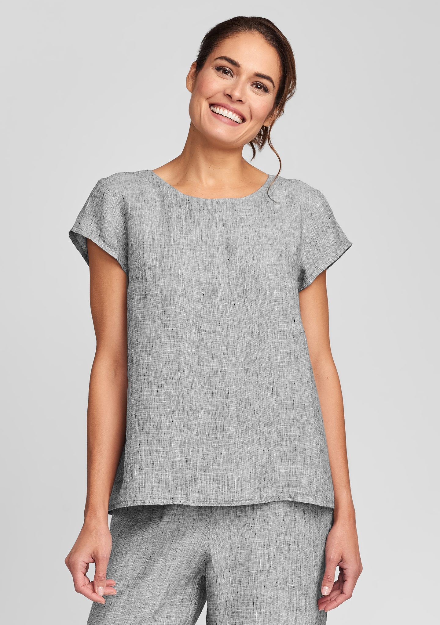 tuck back tee linen t shirt grey