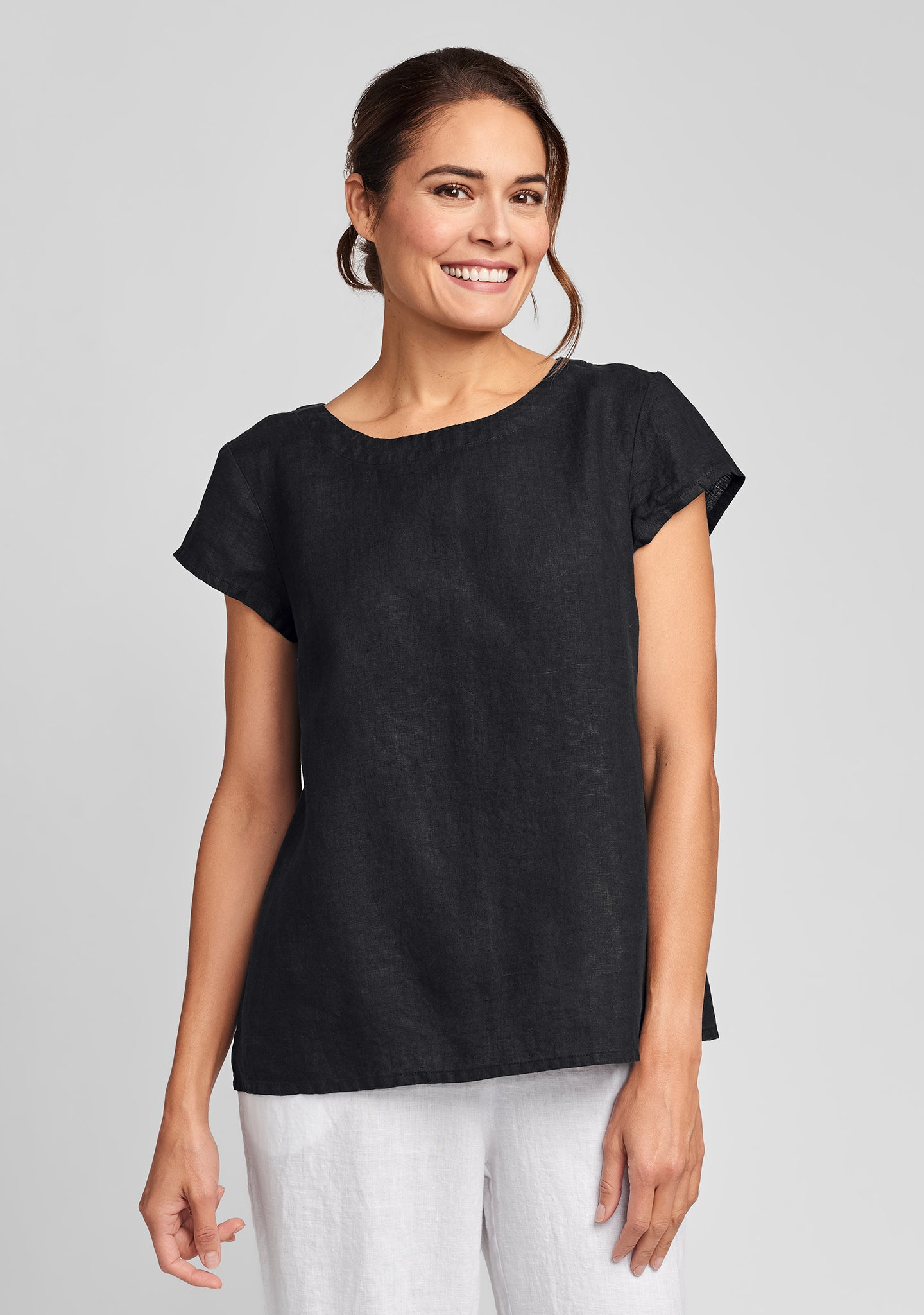 tuck back tee linen t shirt black