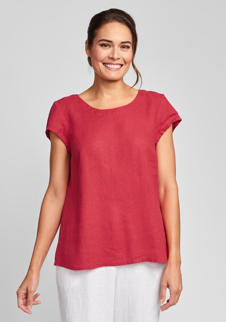 tuck back tee linen t shirt red