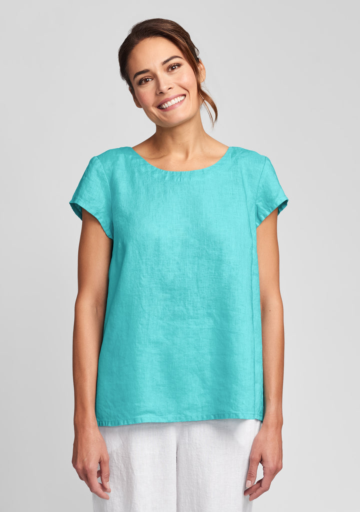 tuck back tee linen t shirt blue