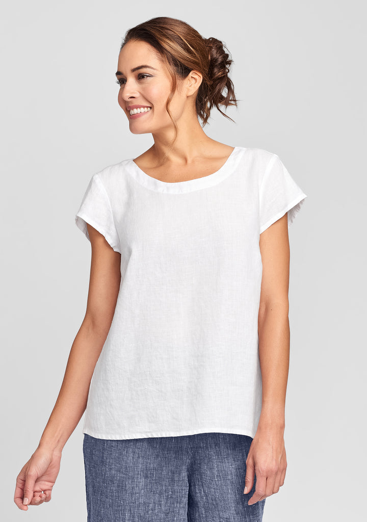 tuck back tee linen t shirt white