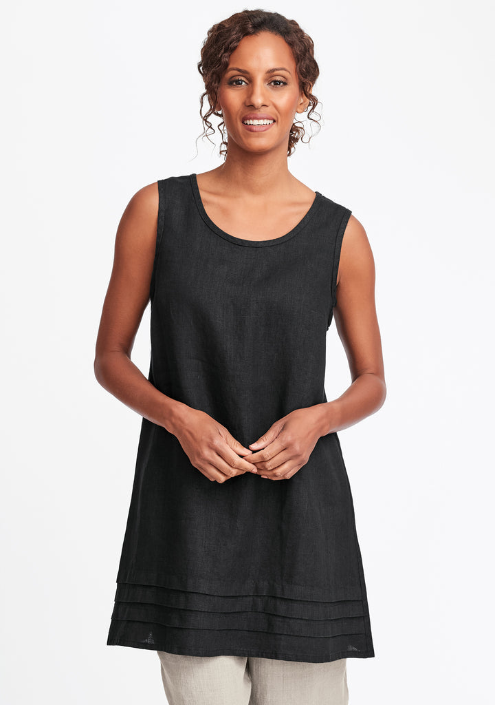tuck tunic linen tank top black