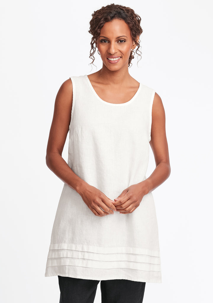 tuck tunic linen tank top white