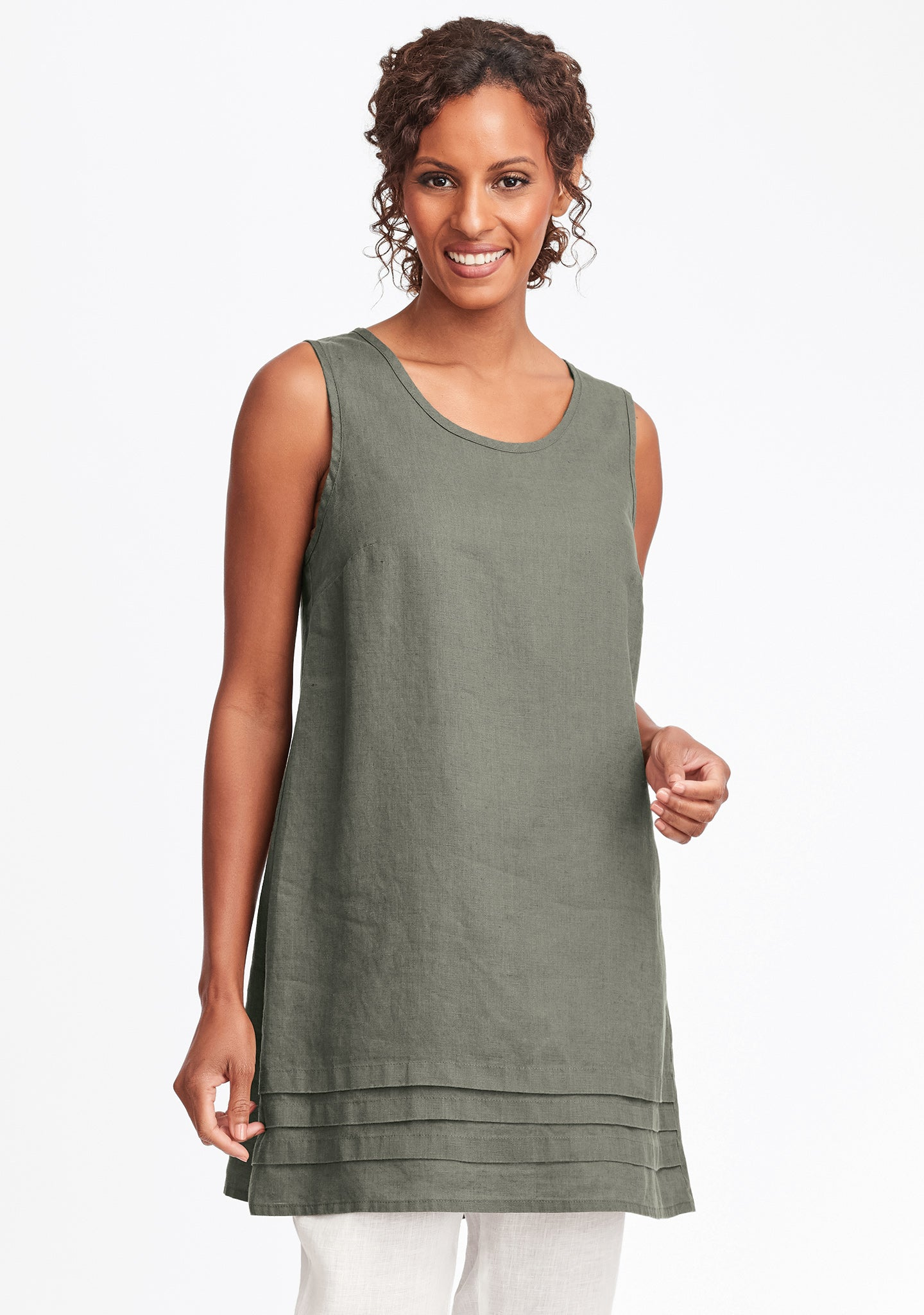 tuck tunic linen tank top green