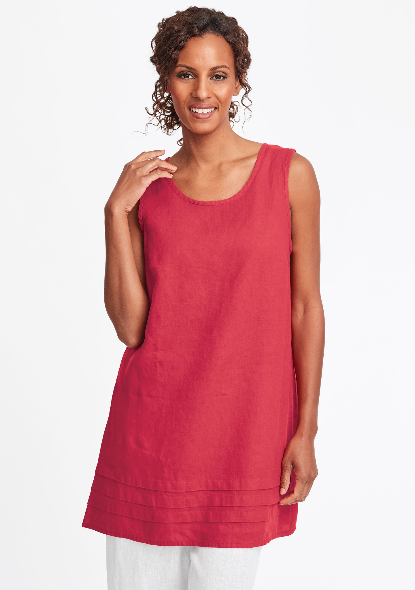 tuck tunic linen tank top red