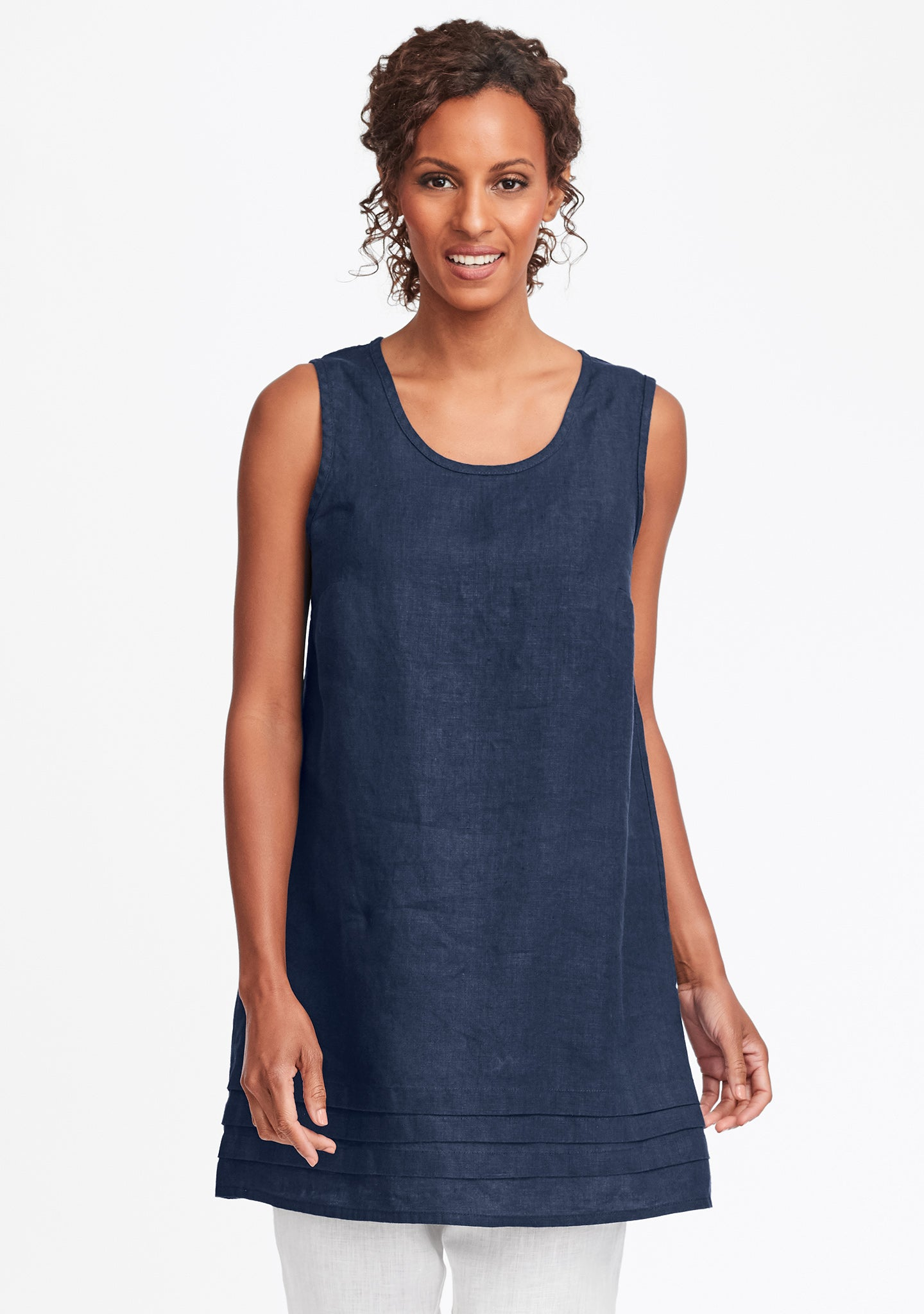 tuck tunic linen tank top blue