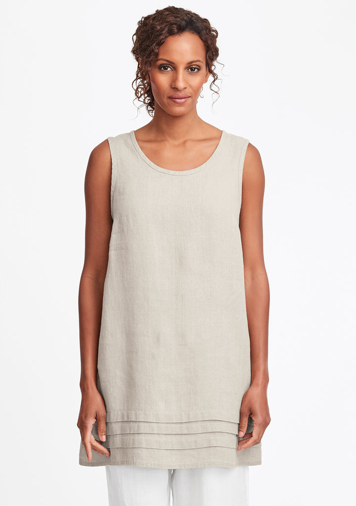 tuck tunic linen tank top natural