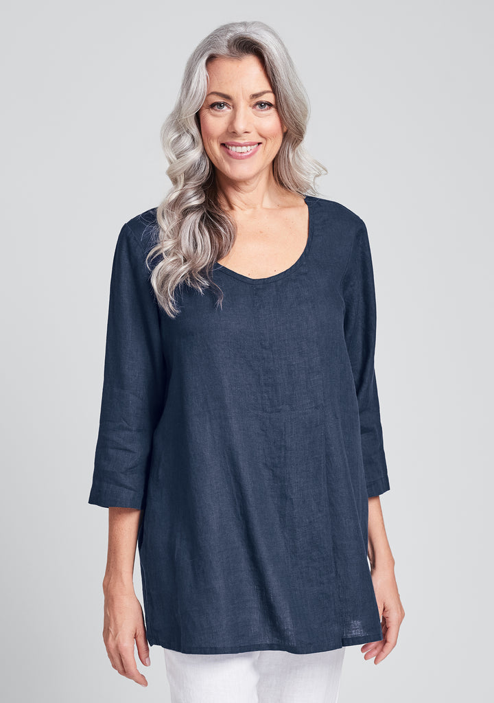 tucked tunic linen shirt blue