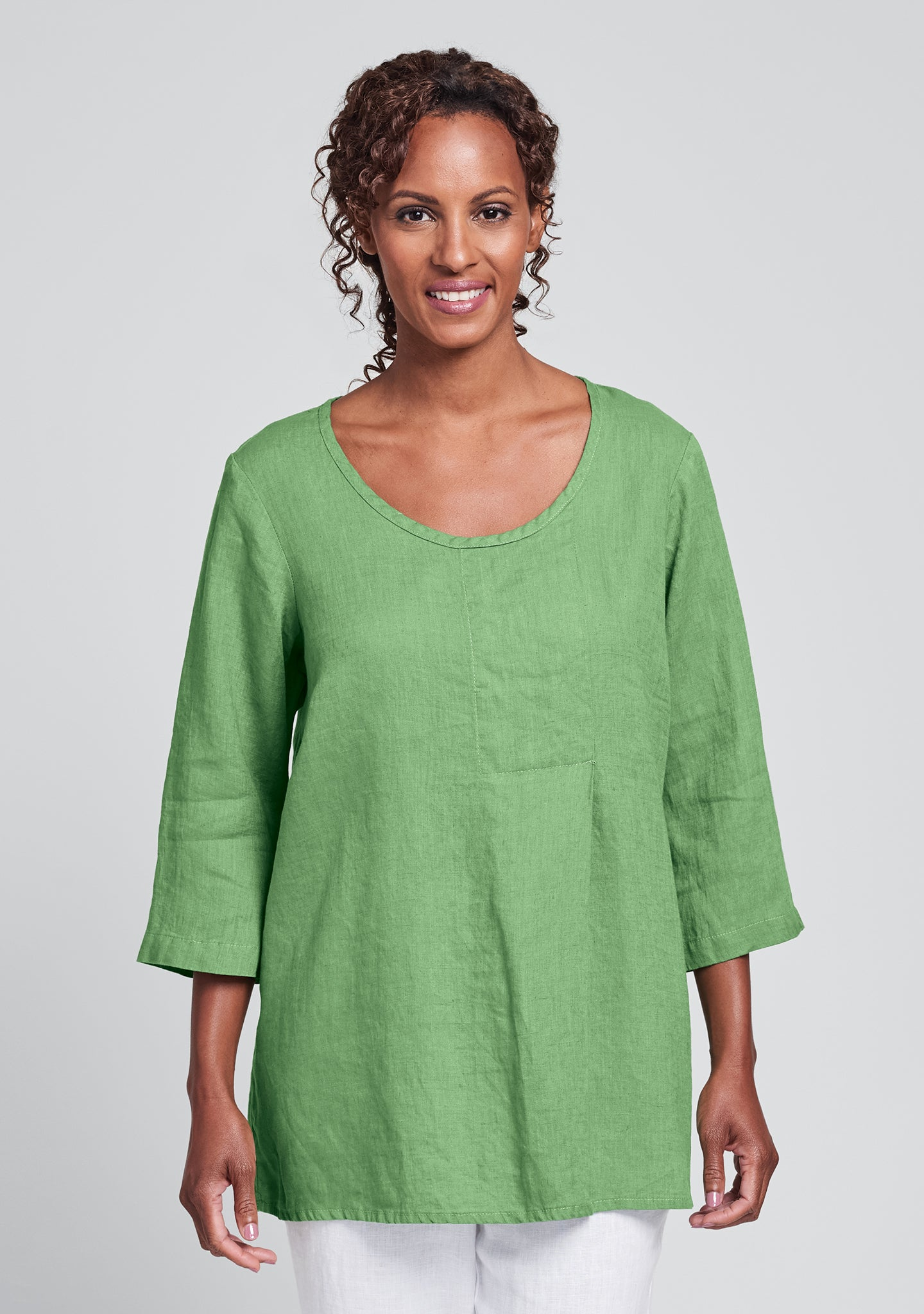 tucked tunic linen shirt green