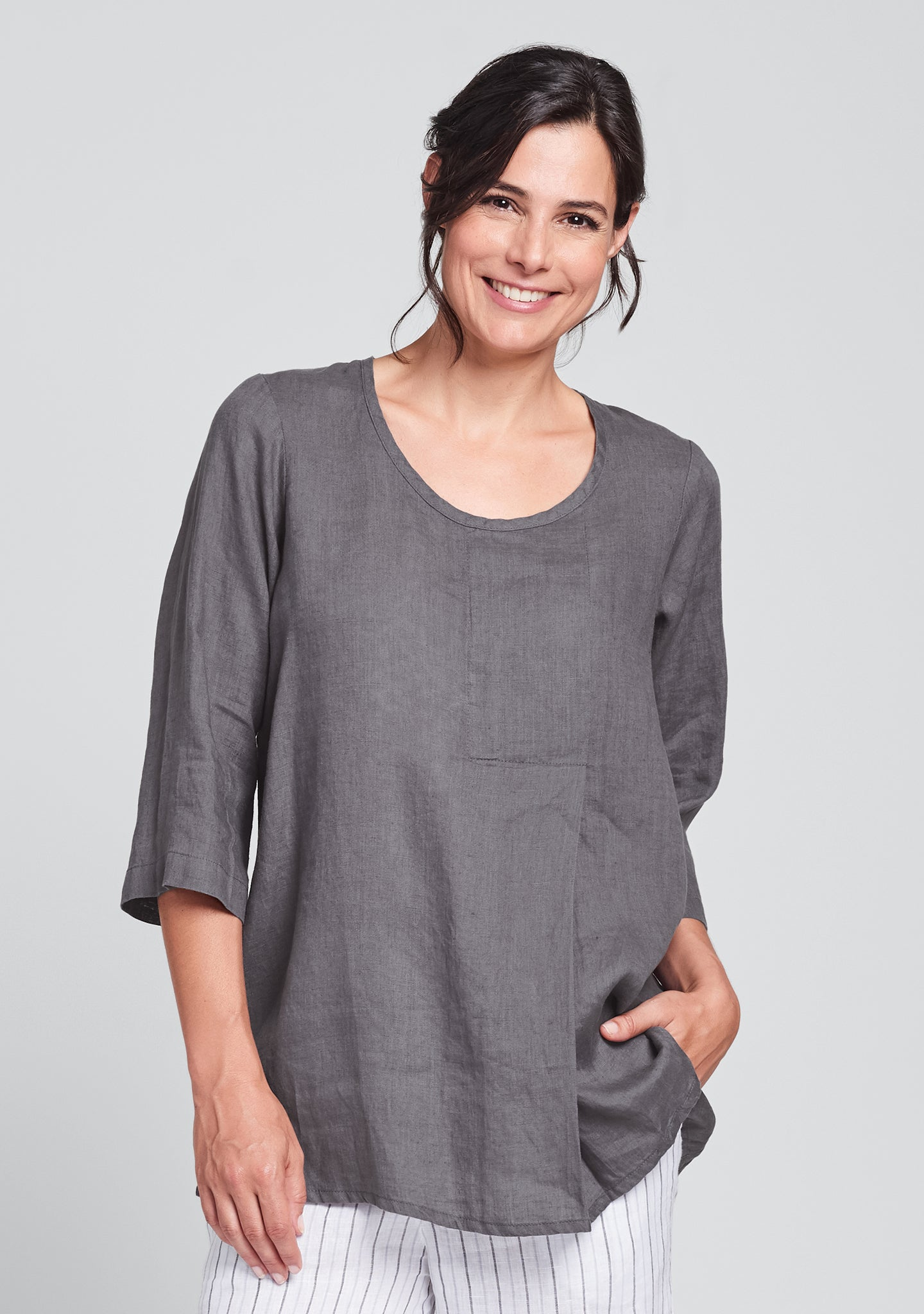 tucked tunic linen shirt grey