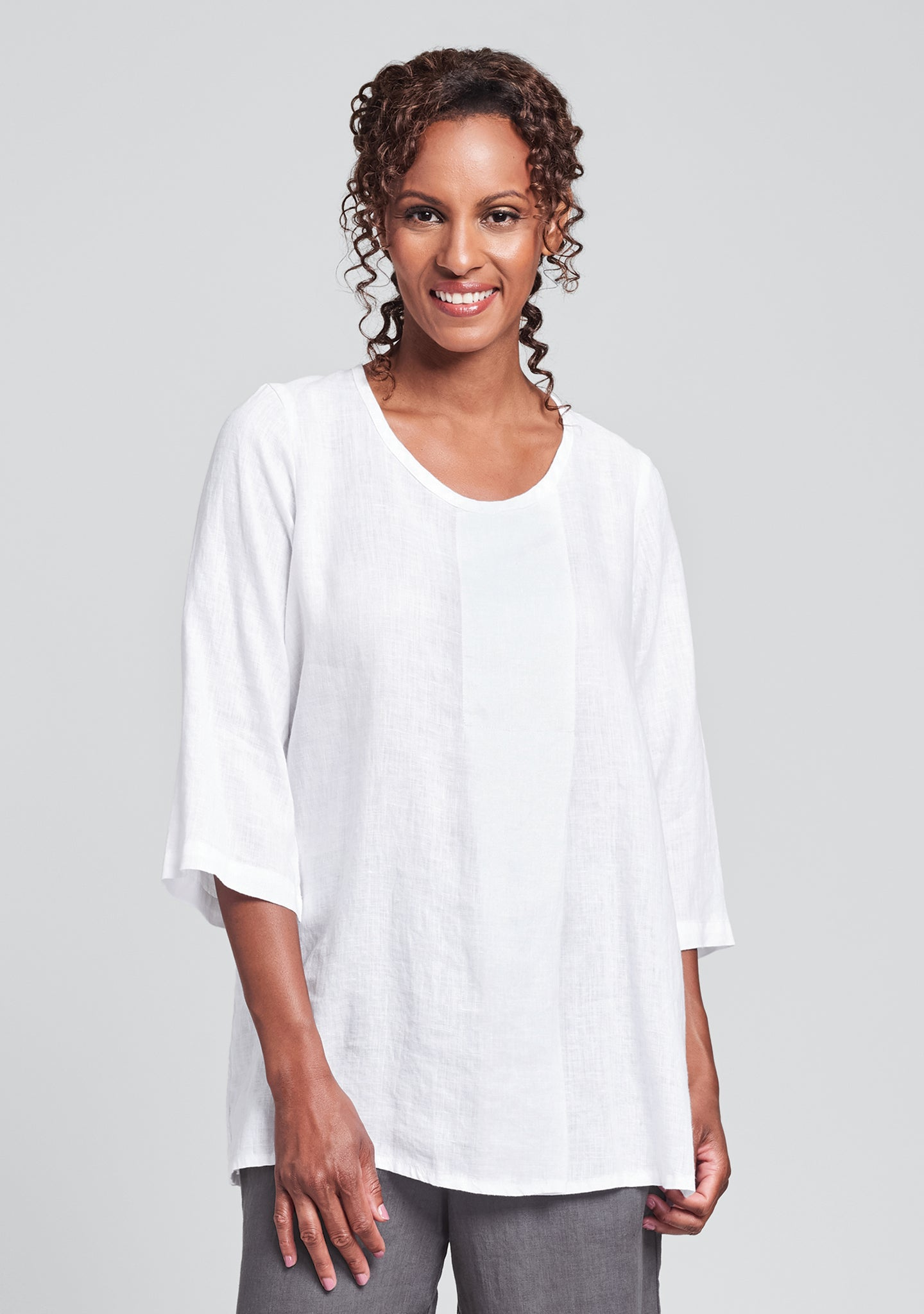 tucked tunic linen shirt white