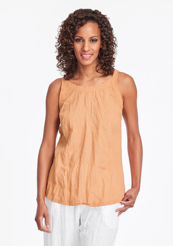 upward tunic linen tank top orange