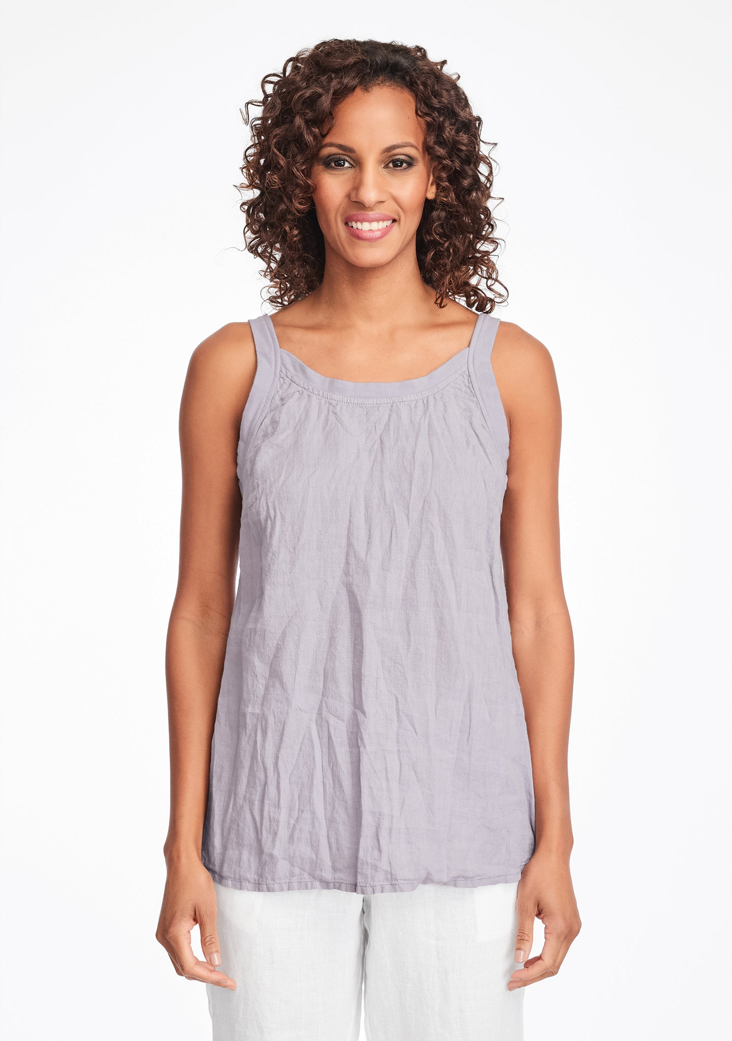 upward tunic linen tank top purple