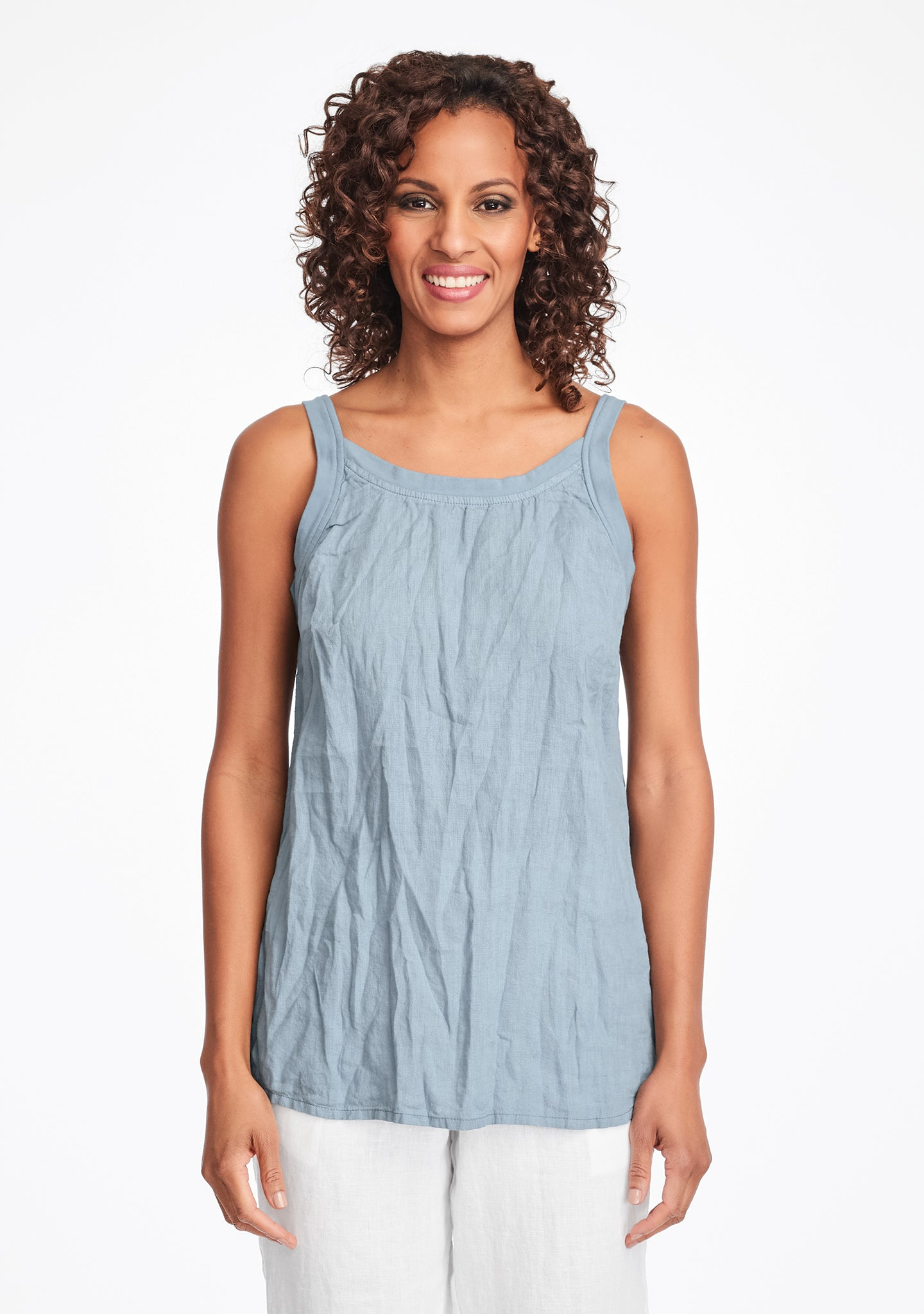 upward tunic linen tank top blue